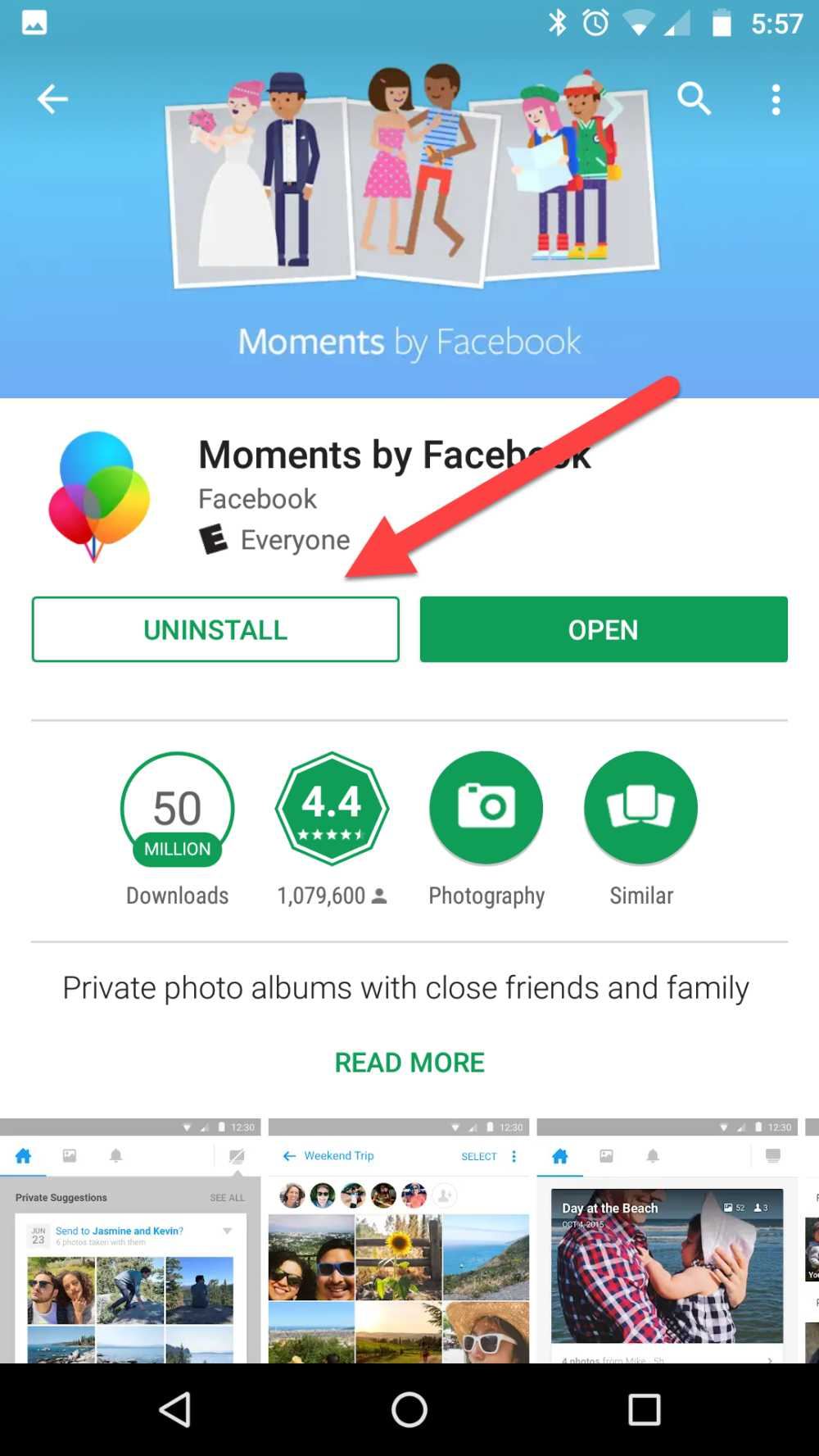 Delete Moments Android Uninstall