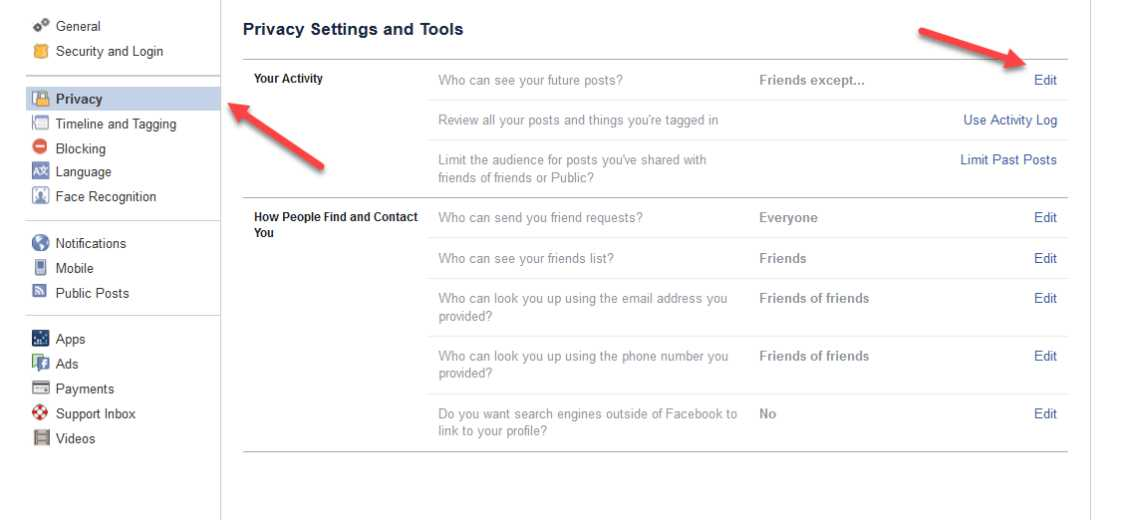 Delete Facebook Privacy Settings