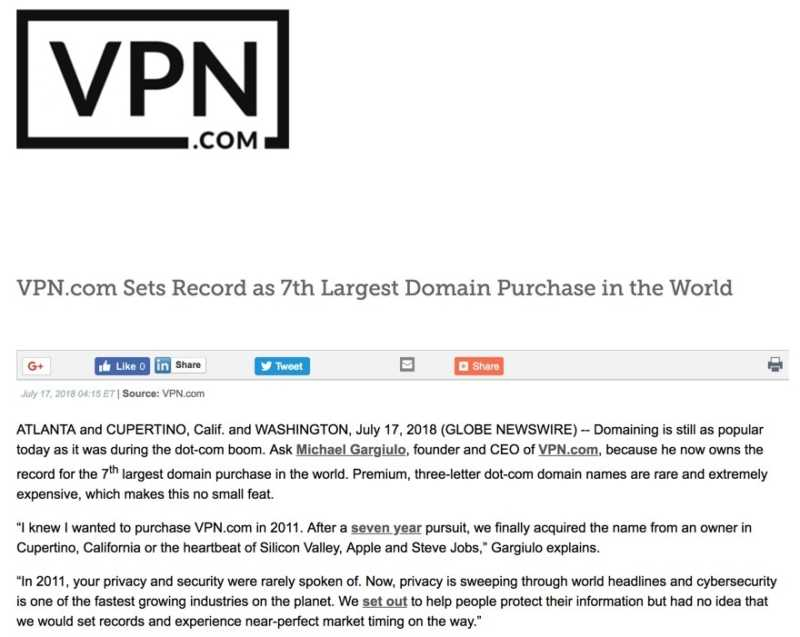 Vpn Com Sets Record As 7Th Largest Domain Purchase In The World
